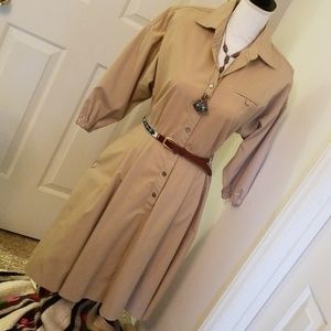Vintage tan cotton A line dress size small or M
